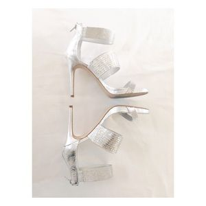 Shoes - GIANNI BINI Plat. Collection Silver Crystal Heels